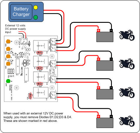 battery charger sharing controller bike under charge will have a higher battery terminal voltage than the others so the controller doesn t drain the batteries of the non charging bikes