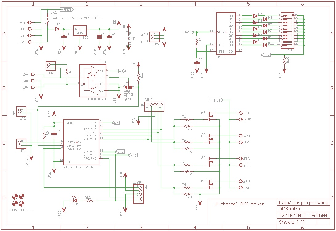 Dmx512 4 Channel Driver Board Mosfet Tester Circuit Diagram Download Schematic In Pdf