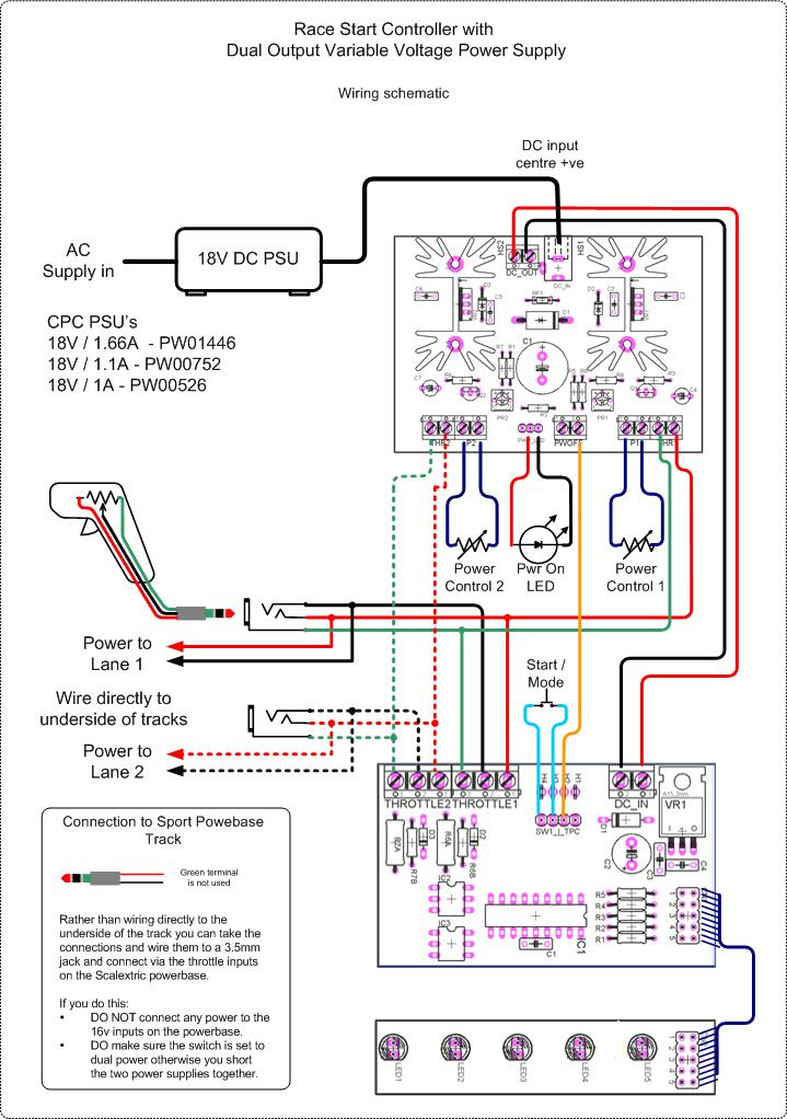 dual output psu for scalextric sport and other slot cars wiring schematic click here for pdf version