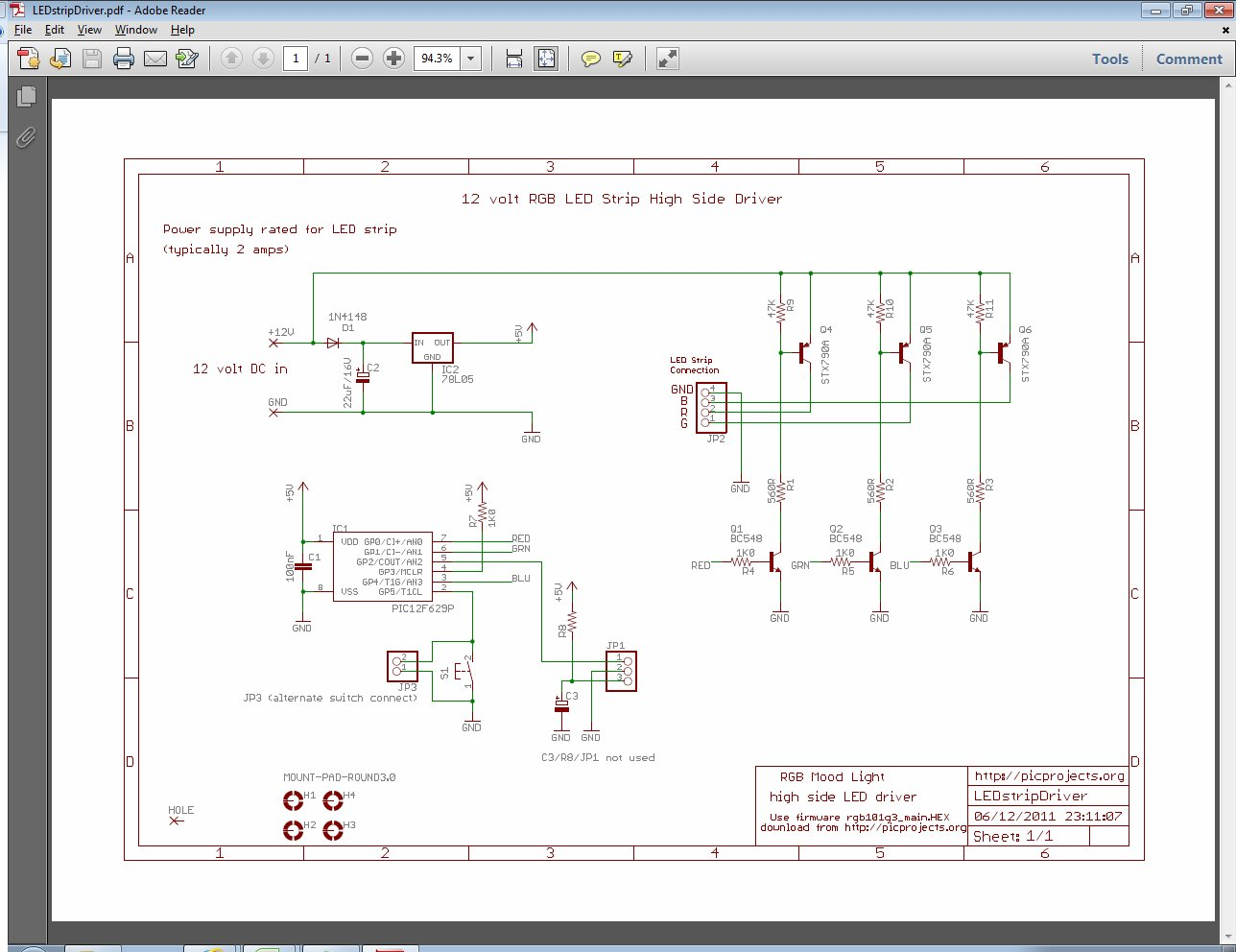 Assembled board from schematic #1