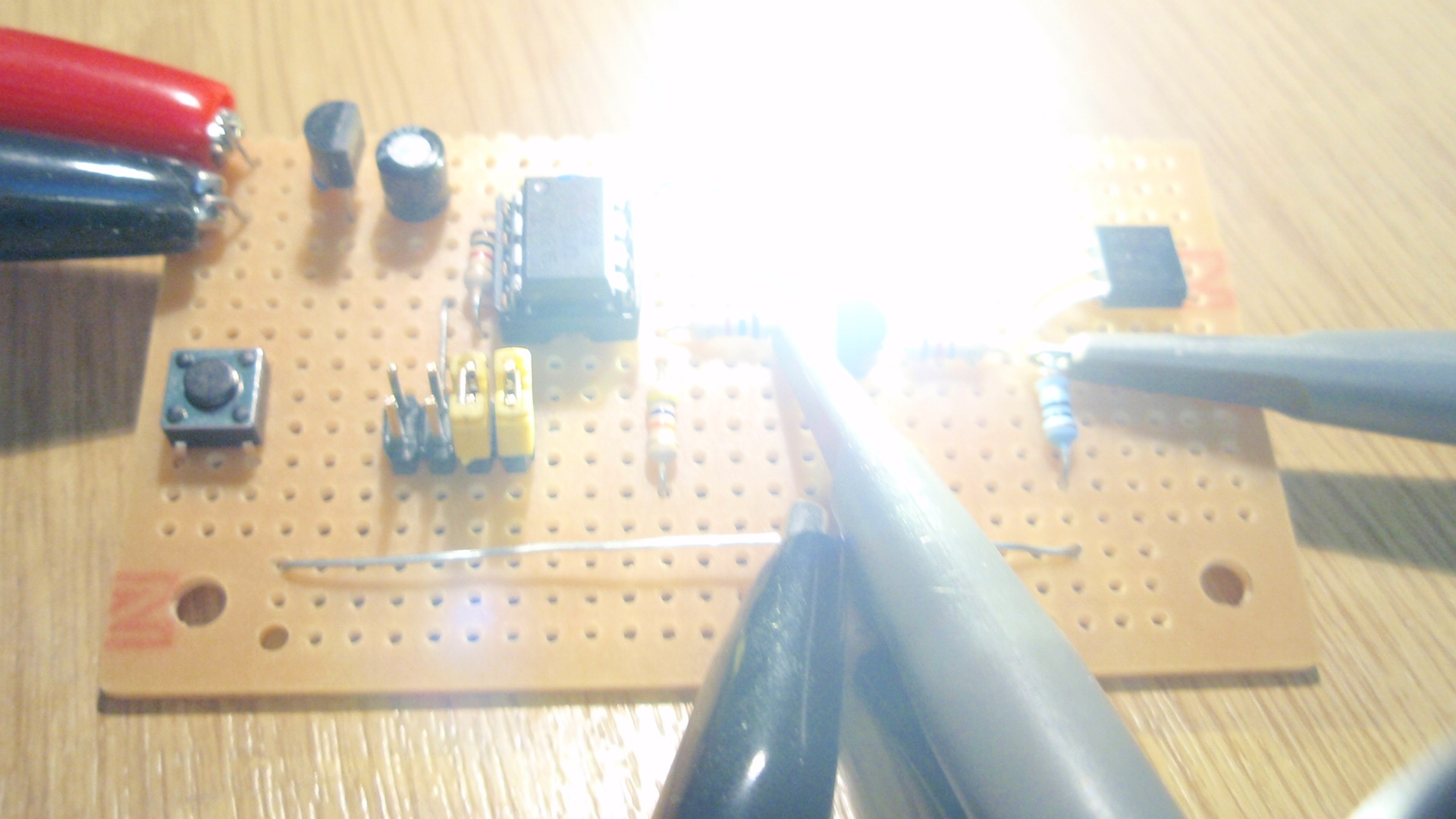 Power Led Strobe Making A Stripboard Circuit Building And Soldering Flasher Photos Above Show Development Of The